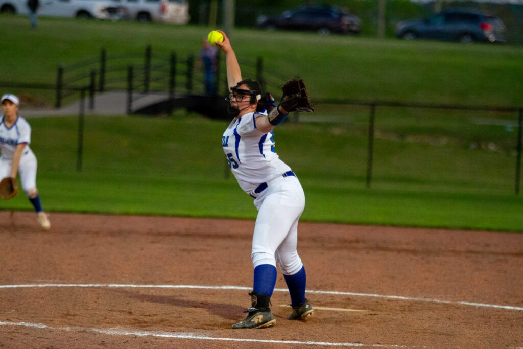 Appalachian pitcher Ashley Maddox delivers against Douglas. -Traci Price