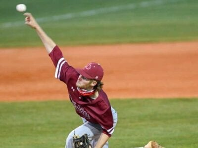 Oneonta pitcher Connor Faust delivers against Mobile Christian. -Janna Faust