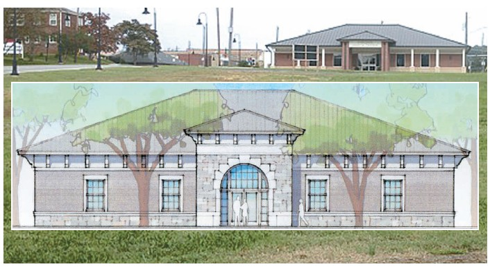 The Wallace State-Oneonta academic center will sit on this site in front of the current Senior Citizens Center (visible above the architect's rendering.)