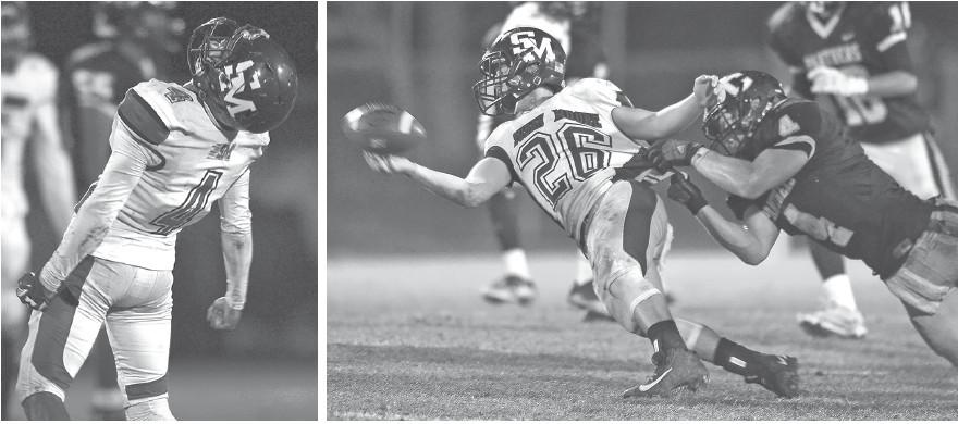 Left: Susan Moore's Jeffrey Threatt celebrates. Right: Cleveland's Kyle Willis (4) takes down Andrew McEvoy (26). -www.southernexposurephotos.com