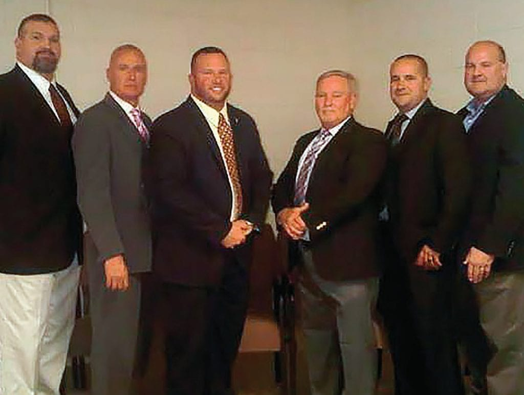 Sheriff candidates, from left: Charlie Turner, Kevin Price, Mark Moon, James Chapman, Chase Ramsey, and Ron Chastain -photos courtesy Jim Fort
