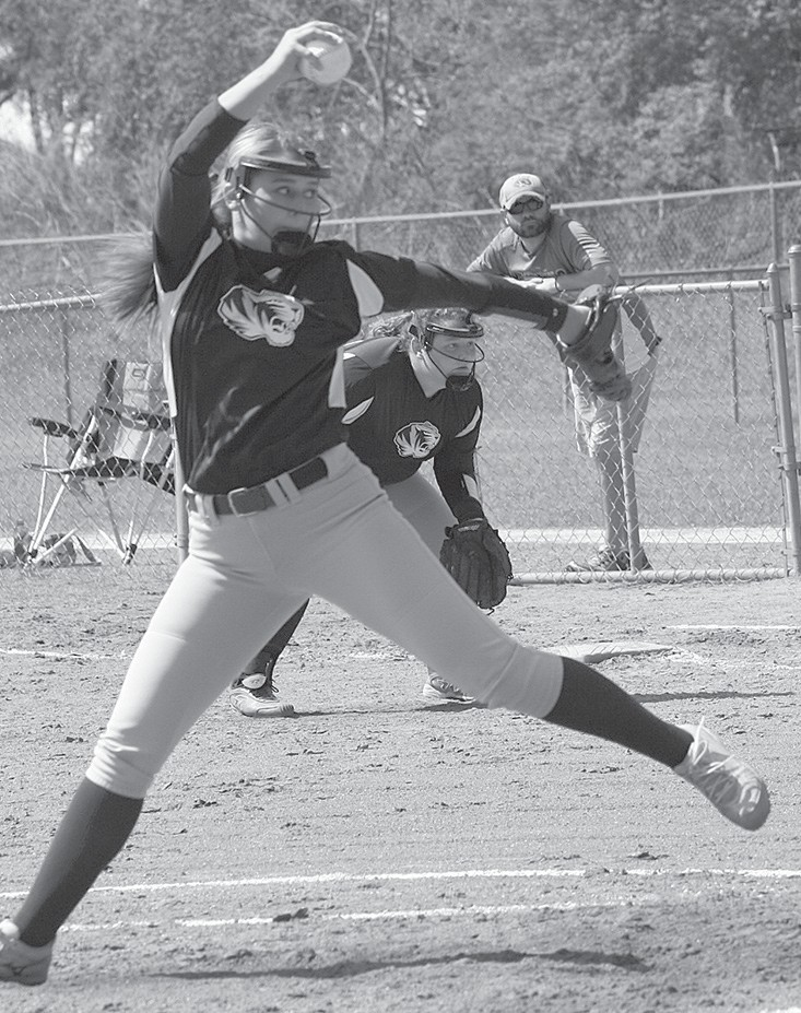 J.B. Pennington pitcher Allana Goble delivers during first game of the tournament against Appalachian.