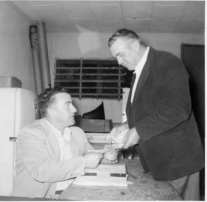 A.O. (Auvie) Gilliland and Ollie Morton at G&M Furniture -courtesy Sandy Morton Nix