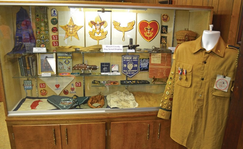 The new Boy Scout exhibit at the Blount County Memorial Museum features items donated by Stanley Patterson of Cleveland. Some items date back to the 1950s.