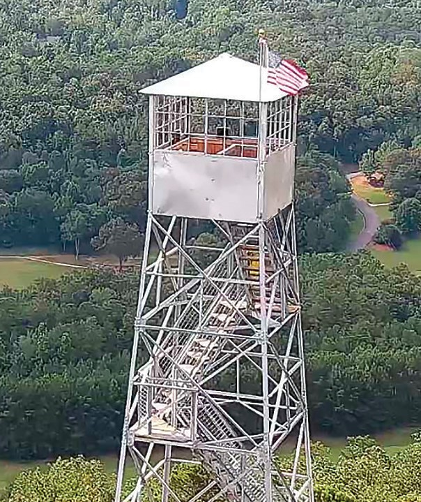 Palisades Park Fire Tower – drone's-eye view. -courtesy Caleb Branch, 911