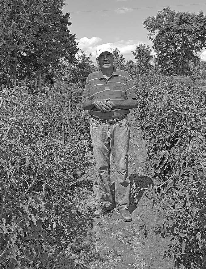 Roger Gilliland stands in his lush garden.