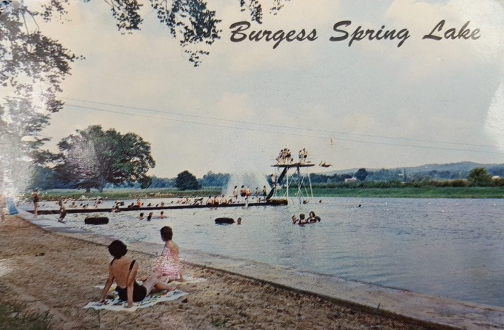 An old postcard depicts Burgess Spring Lake, now known as Spring Valley Beach.