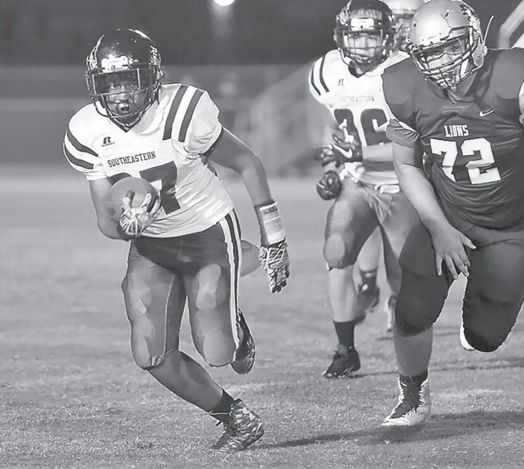 Southeastern's Justin Pendleton rushed for 34 yards and a touchdown against Brindlee Mountain. -Michelle Sargent