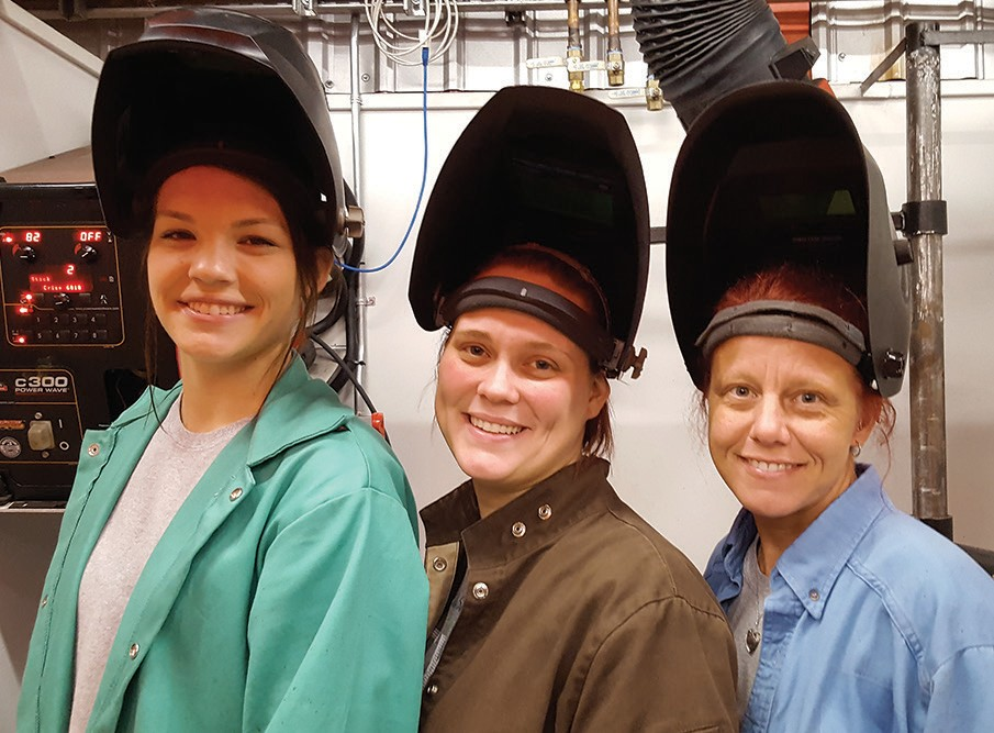 From left, Allison Morton, Caitlyn Green, and Tammy Kelsoe are welding students at Wallace State.