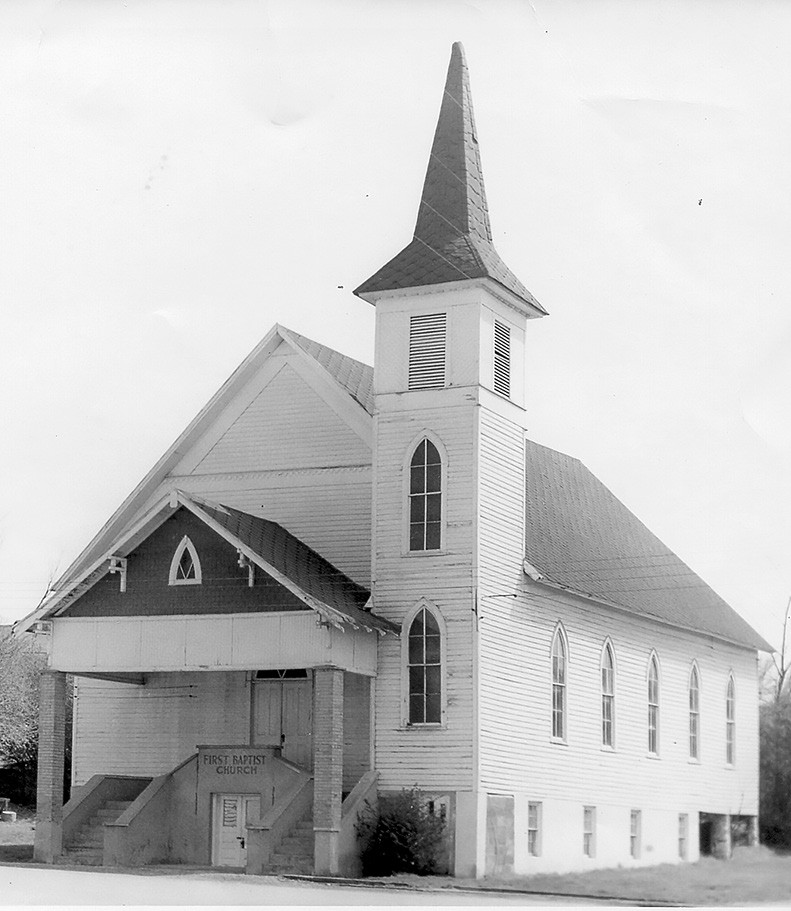 This structure was built on Church Street in 1901. It was replaced by the brick building on College Street which was dedicated Feb. 5, 1967.