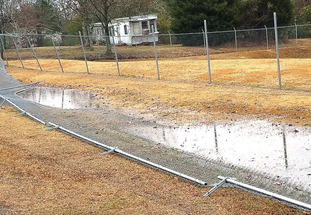 The fence surrounding Appalachian School property was blown down by strong winds over the weekend.