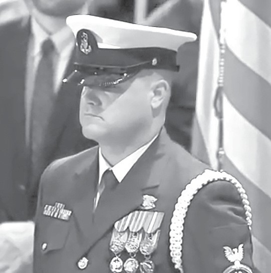 Blount County native Lee Underwood stands guard at the head of President George H.W. Bush's casket. -photo provided by Lee Underwood
