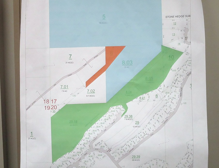 Map of Palisades Park following donation of 45.3 acres (shown in green) of property by the Auth Family Trust in memory of Drs. Ira B. and Darlene F. Patton to the Blount County Commission. The property connects the rock bluff at Palisades to the Heritage Golf property at the base of the ridge. Shown in blue is the pre-existing Palisades Park property, consisting of 100 acres. The orange-colored tract is 3 acres +/- leased from the Alabama Forestry Commission where the Sand Mountain Fire Tower is located. Approximate size of the park is now almost 150 acres.