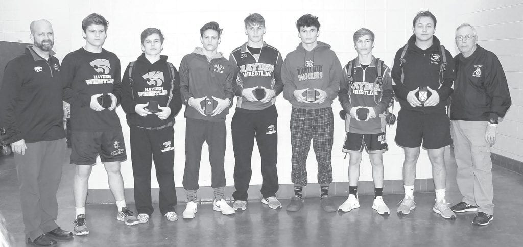 Seven Hayden wrestlers qualified for state. -Stephie Burford