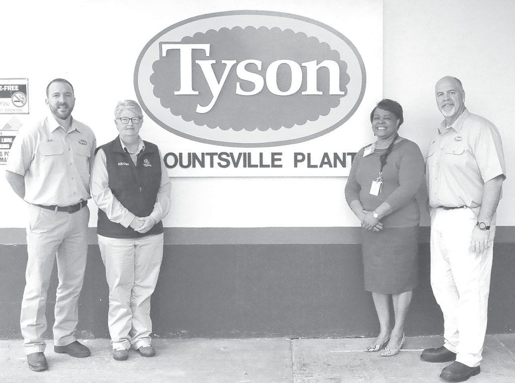 Pictured at the Tyson Foods, Inc. Blountsville Plant are (from left): Josh Witley, Tyson Foods Complex Manager; Cindie Light, Tyson Foods Human Resources Manager; Cynthia Arrington, Director of Adult Education at Wallace State; and Mark Bromley, Tyson Foods Plant Manager. -Wallace State Community College