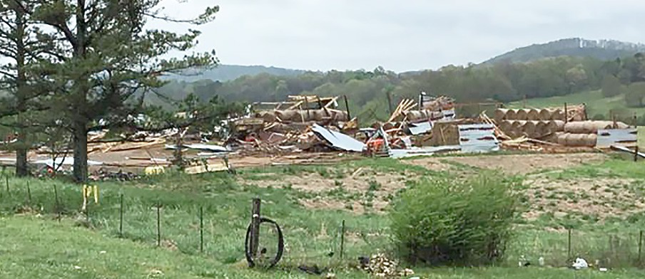 An early morning tornado on Monday damaged property near Blountsville. -National Weather Service