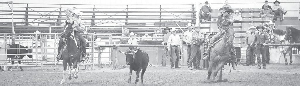 Colby Dodson (left) and Connor Coe work together to earn the Alabama Little Britches Rodeo team roping state championship. -Jennifer Coe