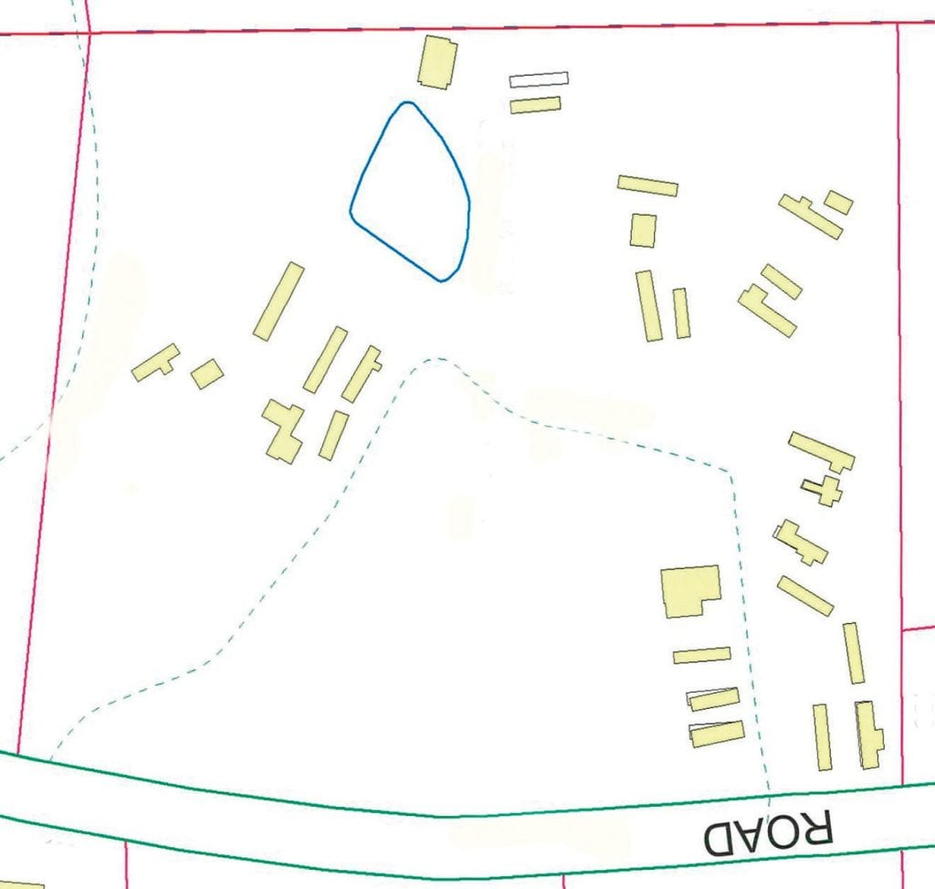 Blount County's subdivision regulations require only ONE dwelling per property parcel. This property diagram shows 29 structures on less than 15 acres. As many as 20 plus may be dwellings.