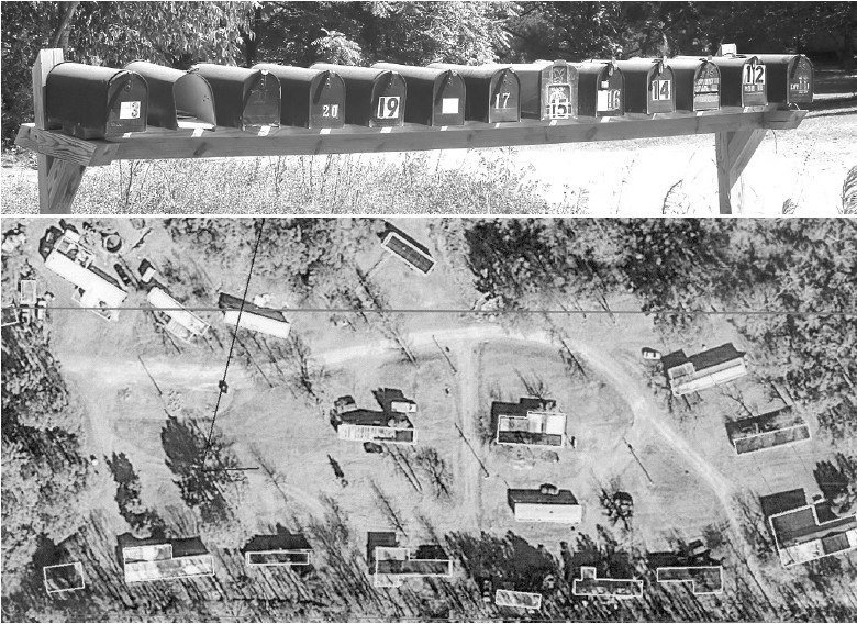 Top: Thirteen mailboxes, somewhere in Blount County: sign of the times. Bottom: Again, the rule is ONE dwelling per parcel of land. This aerial photo shows what appears to be 17 or 18 dwellings on this multi-acre parcel.