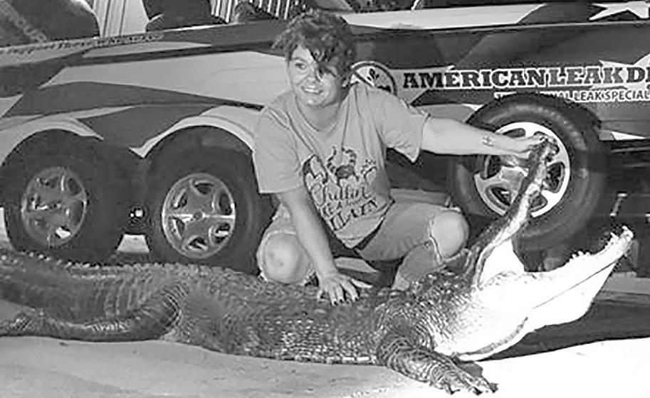 Windy Bradford caught this 9.5-foot, 204-pound alligator at Lake Eufaula in June. -courtesy Windy Bradford