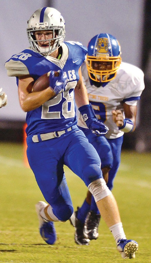 Jake Hammond (28) had a pick six as well as four receptions for 64 yards. -Keith Standridge