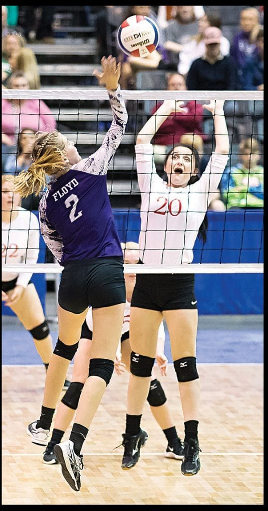 Susan Moore's Lacey Floyd goes up for a kill. -Sherry Abercrombie