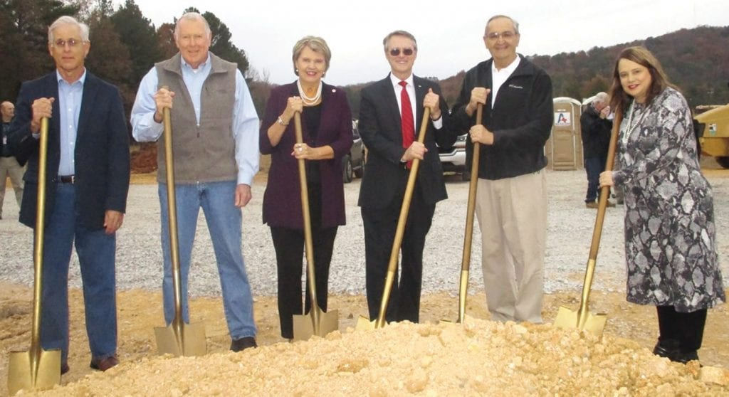 From left, Randy Nelson, vice president, and Wendell Ellis, secretary-treasurer, of the Blount County Public Building Authority (formed to oversee the project to fruition); Nancy Buckner, Alabama DHR commissioner; Chris Green, Blount County Probate Judge; Jim Carr, president of the Public Building Authority; and Catherine Denard, Blount County DHR director.