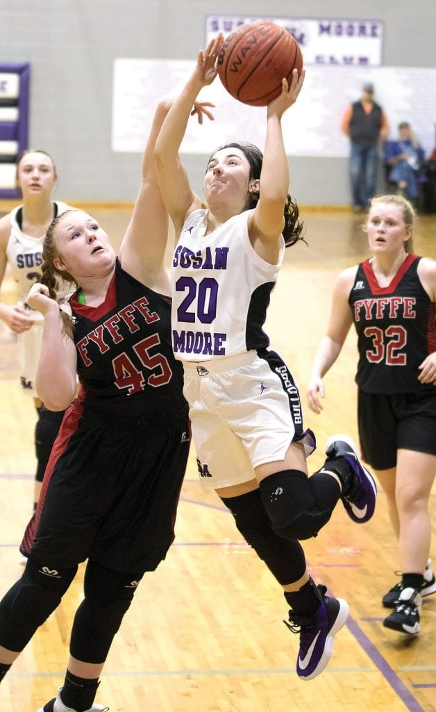 Hannah Lauderdale (20) powers in for a layup over a Fyffe defender. -Sherry Abercrombie