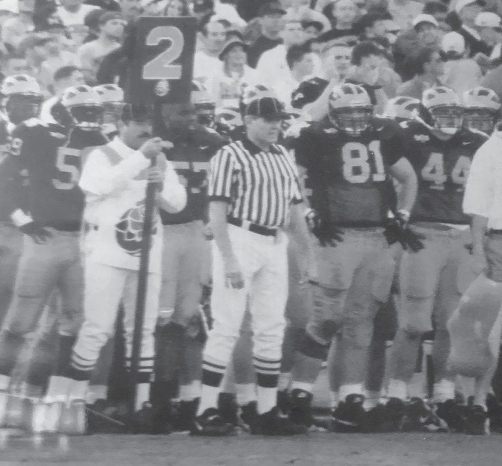 Bob Patrick officiates during the 1998 Rose Bowl. -photo courtesy Bob Patrick