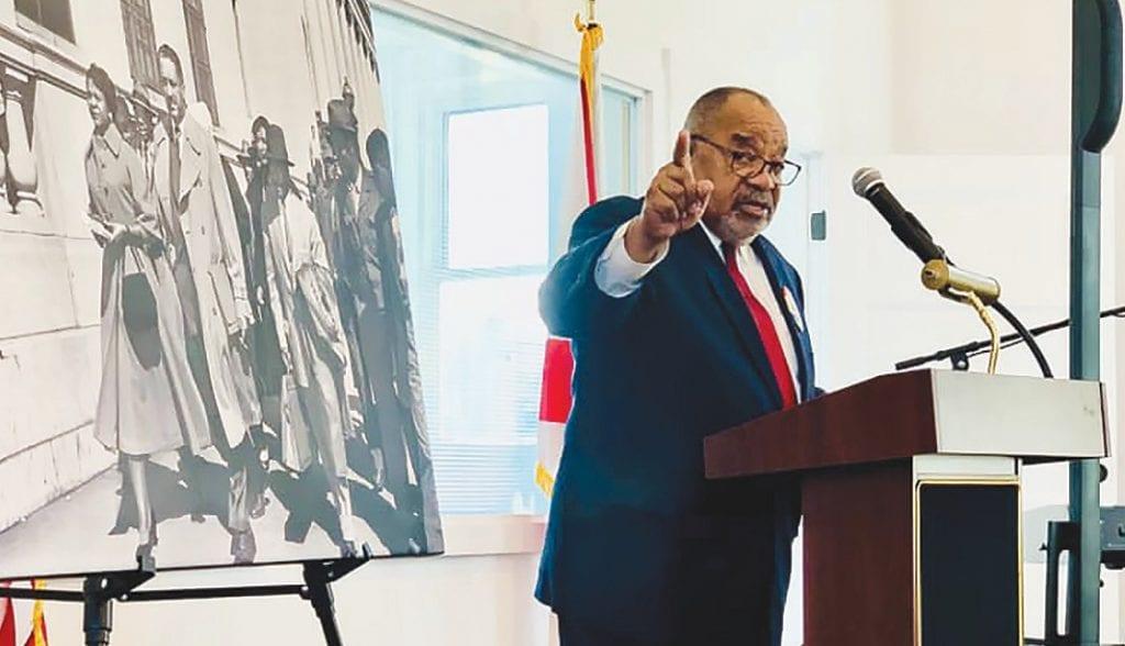 Huston Brown speaks during the MLK Unity Celebration Monday. -Ed Berry