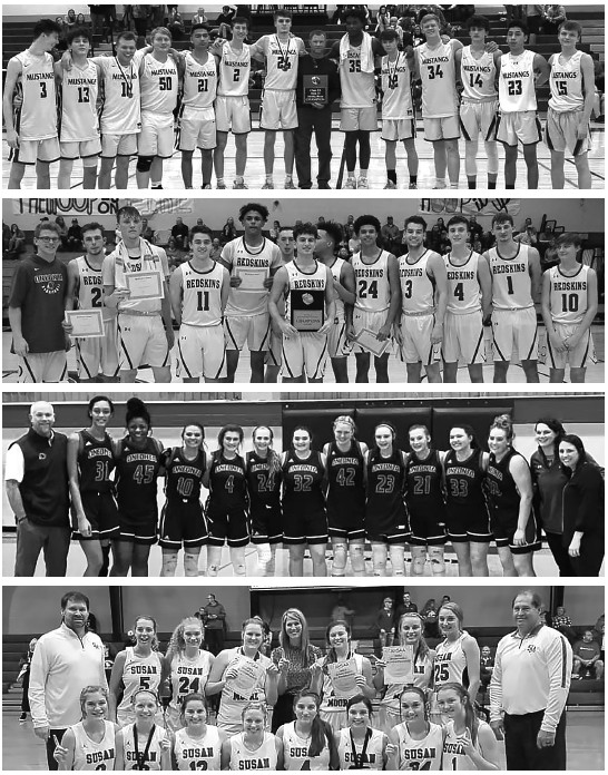 Top to bottom: Area champs Southeastern varsity boys, Oneonta varsity boys, Oneonta varsity girls, and Susan Moore varsity girls. -photos courtesy Keith Moore, Redskin Radio Network, Angela Smith, and Sherry Abercrombie