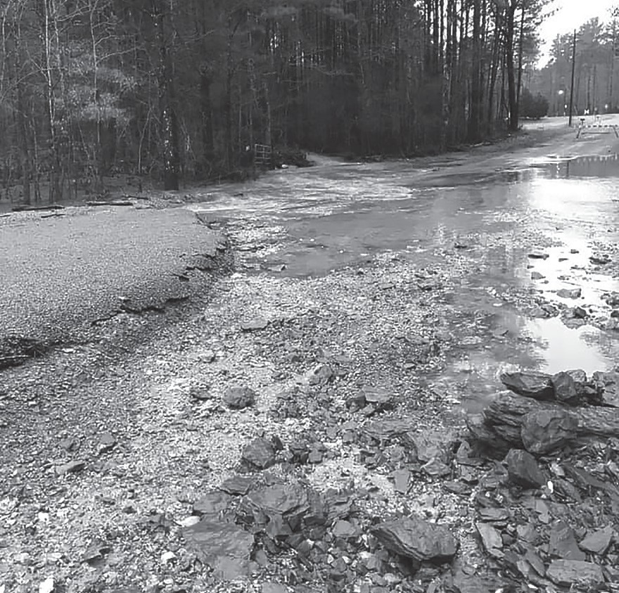 River Road washed out during last weeks' rain. -Town of Highland Lake | Facebook