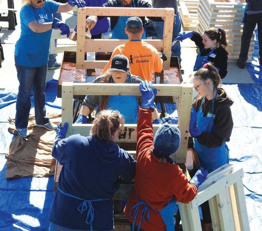 Volunteers gathered Saturday to build 67 beds for children of Blount County. -photo courtesy Kristi Brooks