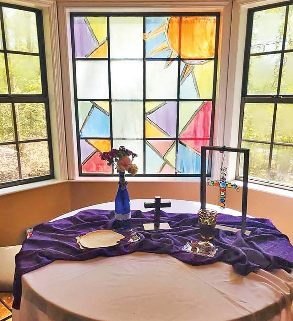 Lester Memorial United Methodist Church observes communion the first Sunday of every month. This month it was at home communion shared via live stream. Rebecca Glandon created this altar for her and husband Robert to share communion on Palm Sunday. -Rebecca Glandon