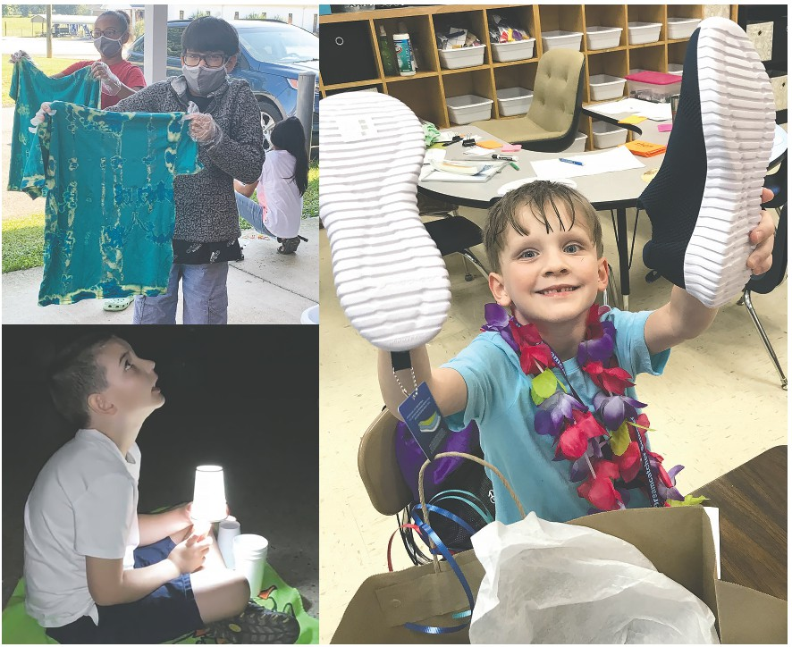 Top left: Students make tie-dyed shirts. Bottom left: STREAM star gazing at Hayden Primary Literacy Camp. Right: All students who attended Dreamcatchers Camp received a pair of new shoes. -all photos courtesy Mitchie Neel