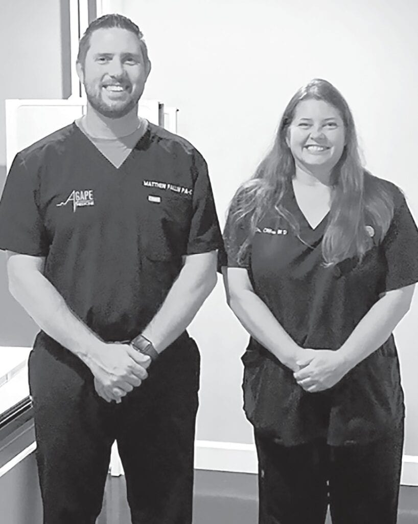 Matthew Fallin and Angela Clifton welcome new patients to Agape Medicine in Snead.