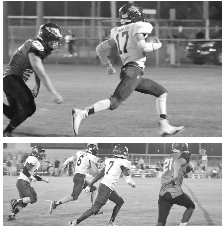 Top: Jackson Smith (17) scores one of three rushing TDs. Smith ended the night with 90 yards on six carries. Bottom: Isaac Aycock (6) scores on a 47-yard punt return as Joe White (7) provides coverage. -Lauri Knowles