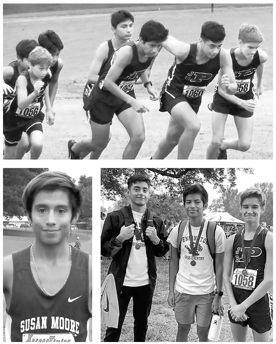 Top: Pennington boys start the Fairview Invitational. Bottom, left: Anthony Lopez. Bottom, right: Paul Gonzalez, Carlos Perez, Jaxon Branham. -photos courtesy Tiger Talker