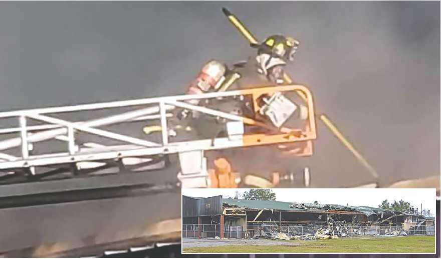 Multiple fire departments responded to the fire at S&S Foods in Cleveland last Tuesday night. Oneonta Fire and Rescue brought their ladder truck to fight the blaze that destroyed the building (inset). The fire has been ruled accidental and non-intentional. -Oneonta Fire and Rescue | Facebook