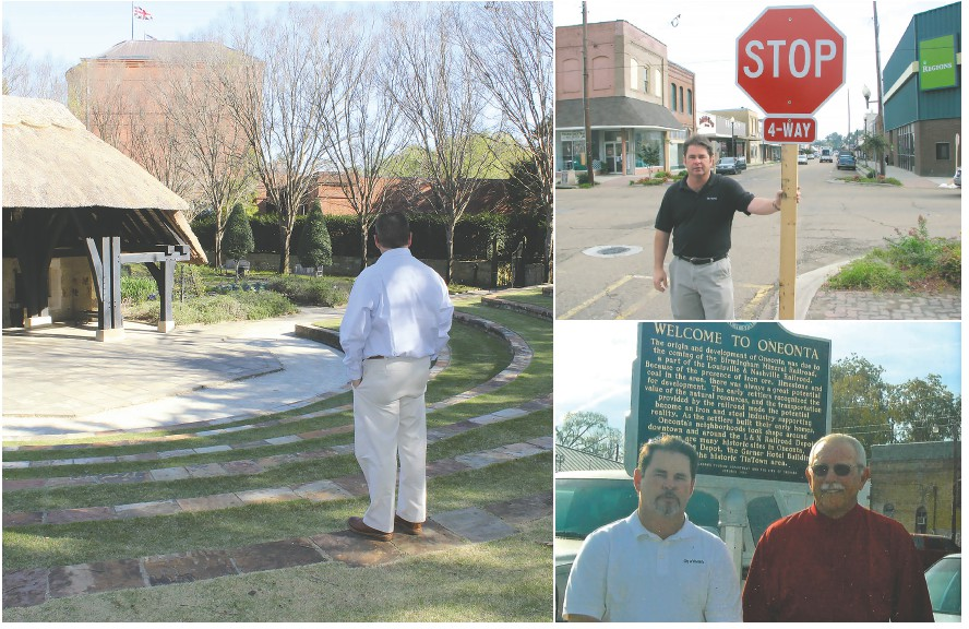Retiring city manager Ed Lowe (left) surveys another city's amphitheatre while, no doubt, dreaming of what Oneonta's can be. Lowe (top right) with new stop signs downtown and (bottom right) with former mayor Daryl Ray as a new historical sign is dedicated.
