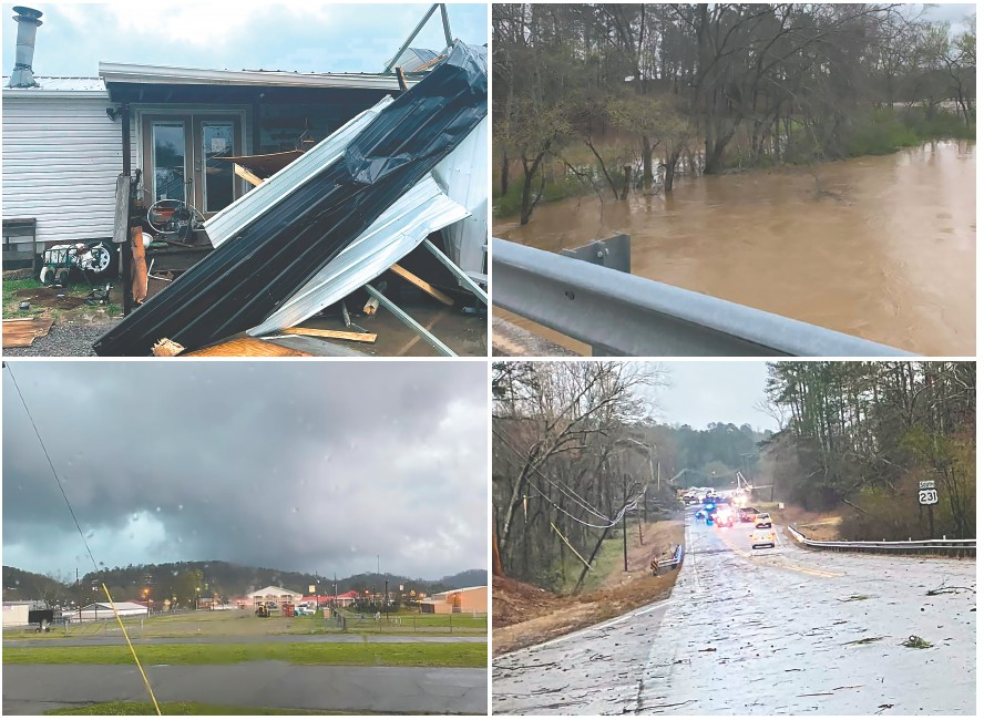 Top left: The T.C. Williams residence, among others, was damaged during Wednesday's tornado in Rosa. Top right: Flooding along U.S. 231. Bottom left: The storm as seen from Oneonta on Adams Avenue near the Agribusiness Center. Bottom right: Law enforcment, Alabama Power linemen, and county crews work to clear trees and restore power on U.S. 231. -photos courtesy T.C. Williams, Robert Bradford, and Wendy Green