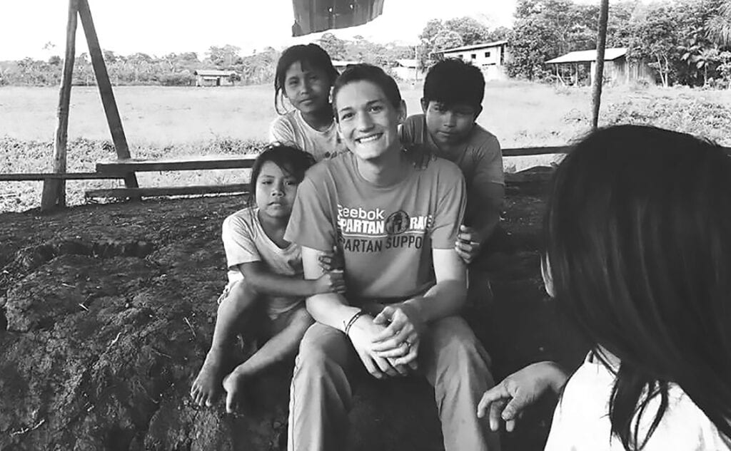 Drew Marbut with Ecuadorian children. -courtesy Drew Marbut