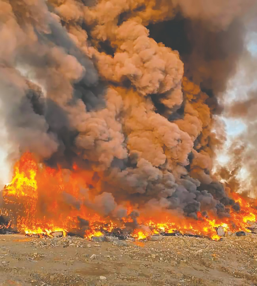 An approximately one-half acre fire at a tire and construction material landfill on County Line Road billows smoke visible all across the county Saturday. The blaze was fully extinguised by Sunday morning. -James Spann   Facebook