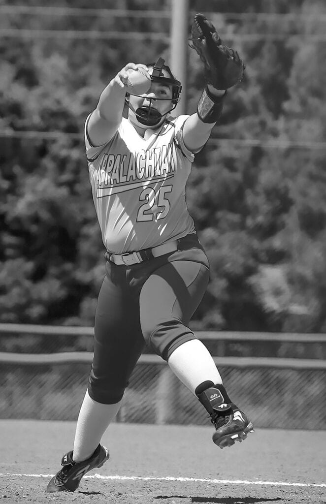 Appalachian's Ashley Maddox delivers against Cedar Bluff. Maddox pitched four innings surrendering seven runs and striking out four. -Mandy Moore Photography
