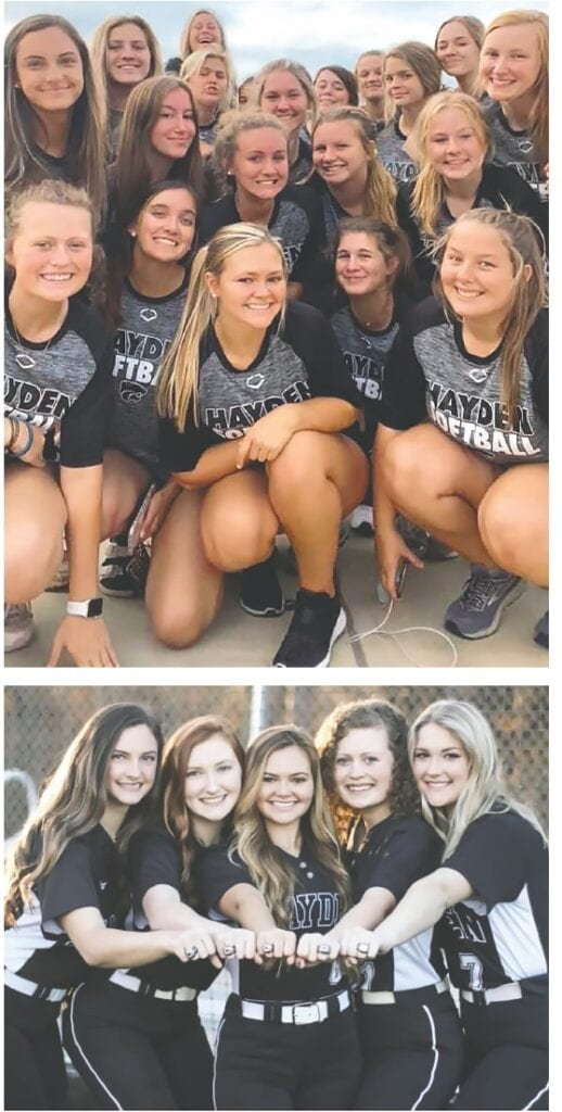 Top: The Hayden Wildcat softball team finished their season at 26-12-1, just a few games shy of playing for a second straight state championship. Bottom: Seniors Savannah Painter, Lindsey Smith, Taylor Yeager, Kailee McCombs, and Olivia Armstrong show off their 2020 state championship rings. -Hayden Wildcat Softball   Facebook