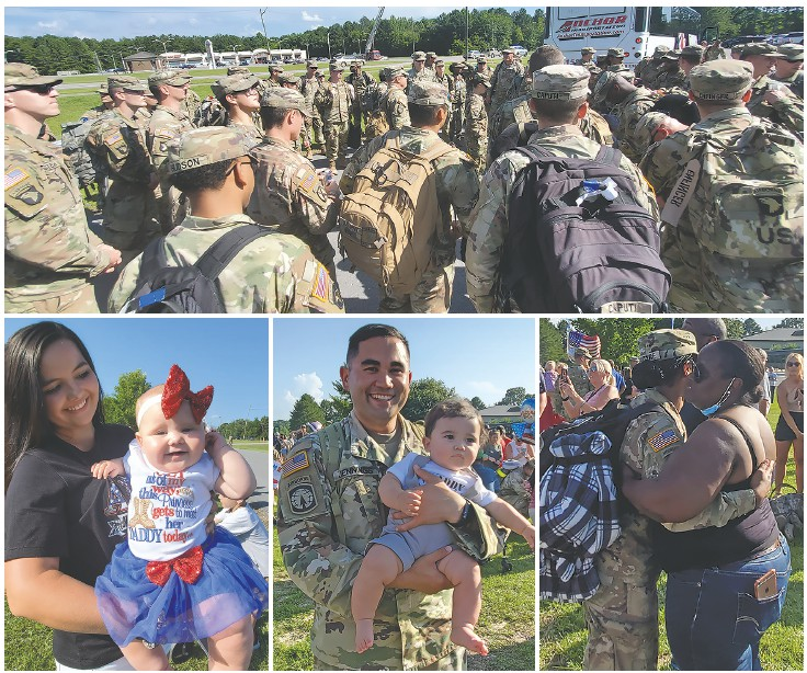 Top: Soldiers receive final instructions after exiting buses. Bottom left and center: Several soldiers got to hold children for the first time. Right: Getting their arms around family members was a joy to each soldier.
