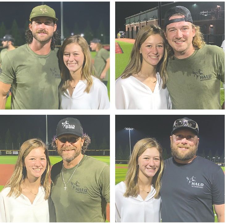 Emma Jean met and got to hang out with (clockwise from top left) Riley Green, Morgan Wallen, Greg Camp, and Matt Duff. -photos courtesy Rebecca Debter