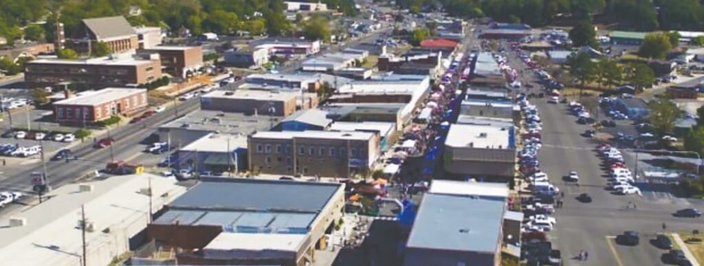A bird's-eye view of First Avenue during the 2019 Covered Bridge Festival. -Blount-Oneonta Chamber of Commerce