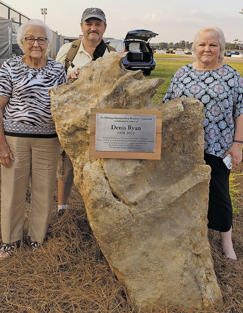 Denis Ryan's family was on hand at Talladega for the dedication ceremony. From left: mother Margaret Ryan, brother Rick Ryan, and sister Joyce Samples.