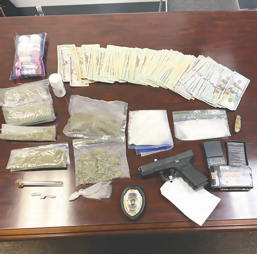 Oneonta Police Department K-9 Boogieman and handler Officer Ryan Pinyan recovered crystal meth, marijuana, cocaine, prescription medications, $7,000 cash, and a loaded firearm during a routine roadside assistance stop. -OPD